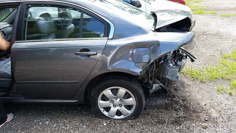 Auto car wreck Rear-ended repairable